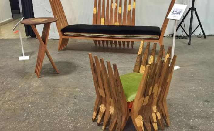 Throne bar bench, Throne chair, Peak table by Khaled El Mays at the Station Beirut Design Market